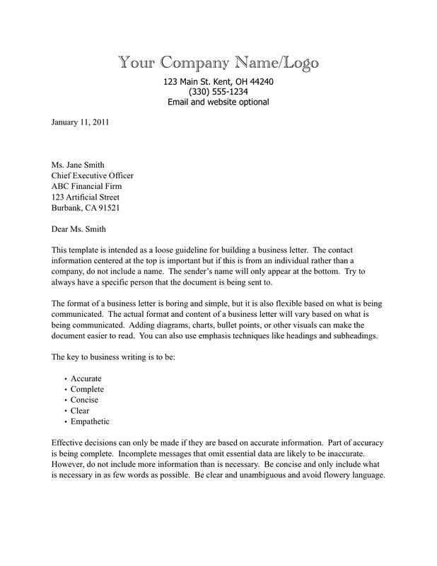 How To Address A Letter To A Business.Business Letter With Text Based Letterhead