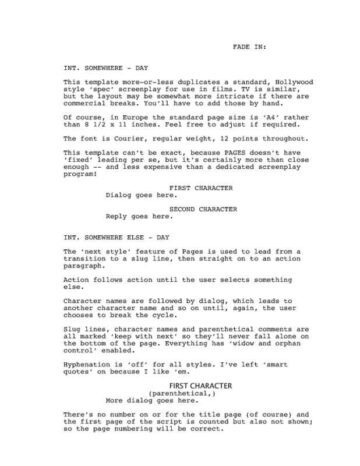 Classic Screenplay With Director Cues O IWorkCommunity
