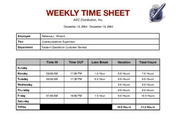 weekly timesheet with breaks and vacation hours iworkcommunity